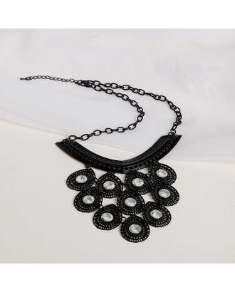 """Колье со стразами """"Эльфийское"""" крупные капли, цвет белый в черном металле, L=43 арт. СМЛ-27050-1-СМЛ4126913"""