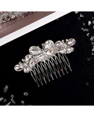 """Гребень для волос """"Абелия"""" 6,5*5,5 см, бабочки, серебро арт. СМЛ-27062-1-СМЛ4130764"""