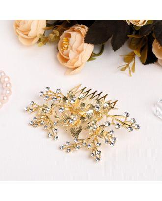 """Гребень для волос """"Виржини"""" 10*7 см, бабочки, золото арт. СМЛ-27064-1-СМЛ4130766"""