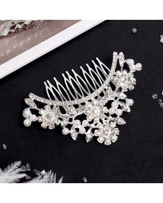 """Гребень для волос """"Елизавета"""" 10*7 см, цветочная поляна, серебро арт. СМЛ-27070-1-СМЛ4130772"""