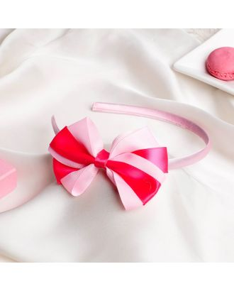 """Ободок для волос """"Двойной бант"""" 0,5 см, розовый арт. СМЛ-27084-1-СМЛ4130859"""