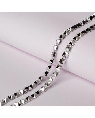 Тесьма металлизированная «Квадрат», 5 × 5 мм, 5,5 ± 0,5 м, цвет серебряный арт. СМЛ-29312-1-СМЛ4141764