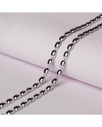 Тесьма металлизированная «Прямоугольник», 8 × 5 мм, 5,5 ± 0,5 м, цвет серебряный арт. СМЛ-29311-1-СМЛ4141766
