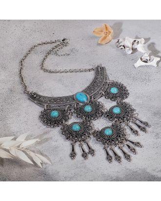 """Колье """"Гестия"""" четыре яруса, цвет голубой в чернённом серебре, L=35 см арт. СМЛ-27178-1-СМЛ4142549"""