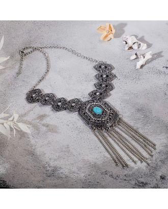 """Колье """"Гестия"""" ромб, цвет голубой в чернённом серебре, L=45 см арт. СМЛ-27181-1-СМЛ4142552"""