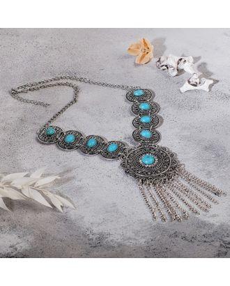 """Колье """"Гестия"""" круг, цвет голубой в чернённом серебре, L=45 см арт. СМЛ-27182-1-СМЛ4142553"""