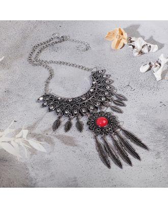 """Колье """"Ажурные перья"""" круг, цвет красный в чернённом серебре, L=35 см арт. СМЛ-27184-1-СМЛ4142556"""