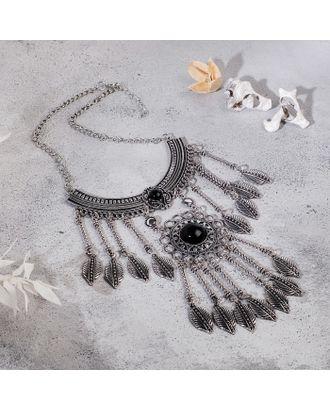 """Колье """"Ажурные перья"""" круг, цвет чёрный в чернённом серебре, L=35 см арт. СМЛ-27185-1-СМЛ4142559"""