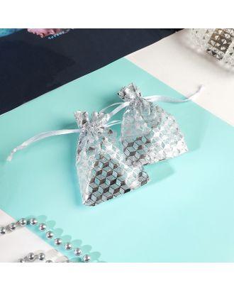 """Мешочек подарочный """"Геометрия"""" 7*9, цвет белый с серебром арт. СМЛ-27262-1-СМЛ4147832"""