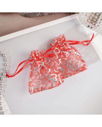 """Мешочек подарочный """"Сердечки"""" крупные 7*9, цвет красный с серебром арт. СМЛ-27266-1-СМЛ4147836"""