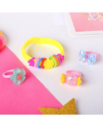 """Набор детский """"Выбражулька"""" 4 предмета: браслет, 3 кольца, ассорти, форма МИКС, цвет МИКС арт. СМЛ-27321-1-СМЛ4148462"""