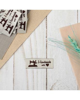 Набор нашивок «Hand made», 4.5 × 1.5 см, 10 шт, цвет сливочный/коричневый арт. СМЛ-27498-1-СМЛ4157865