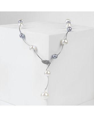 """Бусы """"Весна"""" шарики, цвет белый в серебре, длина регулируемая, №12, бусины №16, №20 арт. СМЛ-29415-2-СМЛ4175536"""