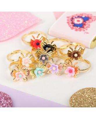 """Кольцо детское """"Выбражулька"""" бабочки с цветочками, цвет МИКС, безразмерное арт. СМЛ-28337-1-СМЛ4176804"""