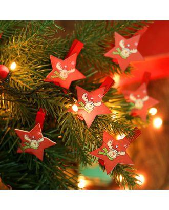"""Набор новогоднего декора на прищепке, 6 шт. """"Звёздочки с оленем"""" арт. СМЛ-35603-1-СМЛ0004186527"""