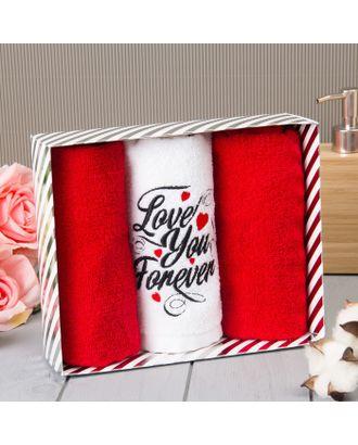 """Набор полотенец """"Love you forever"""" 30*60 см-3шт, 100% хлопок, 340 г/м2   4716380 арт. СМЛ-31067-1-СМЛ4224121"""