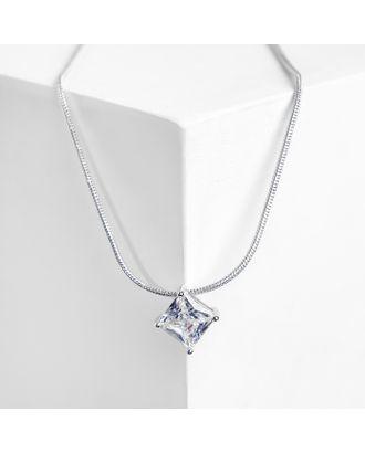 """Кулон """"Стразинка"""" квадрат, цвет белый в серебре арт. СМЛ-31428-1-СМЛ4240391"""