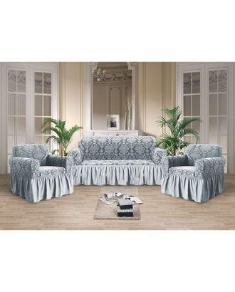 Чехол для мягкой мебели 3-х предметный с оборкой трикотаж жаккард, цв серебро 100% п/э арт. СМЛ-31616-1-СМЛ4241672