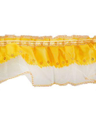 Тесьма атлас желтый на белом капроне 9см, в рулоне 10 м арт. СМЛ-32652-1-СМЛ4272356
