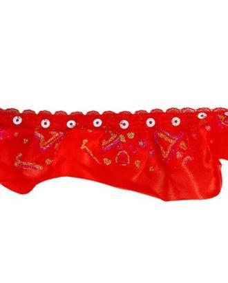 Тесьма сетка с напылением на красном атласе 5см, в рулоне 10 м арт. СМЛ-32656-1-СМЛ4272360