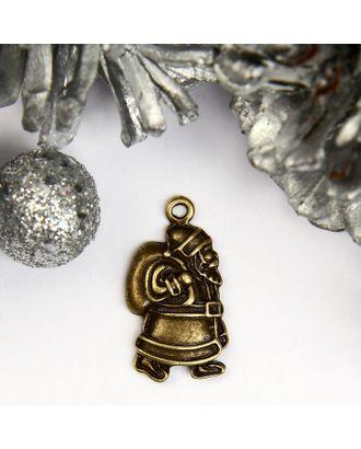 """Декор для творчества металл """"Дед Мороз с мешком подарков"""" бронза 2,2х1,1 см арт. СМЛ-114479-1-СМЛ0004289356"""