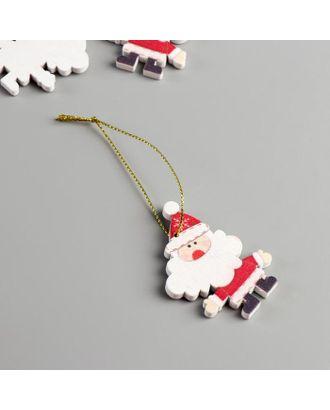 """Набор декора для творчества дерево """"Дедушка Мороз"""" набор 4 шт 5,7х4,2х0,5 см арт. СМЛ-121264-1-СМЛ0004291471"""