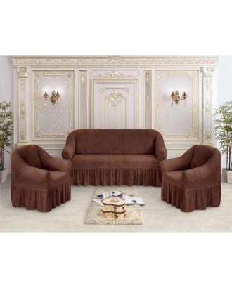 Чехол для мягкой мебели 3-х предметный трикотаж жатка, цв шоколад 100% п/э арт. СМЛ-33341-1-СМЛ4292656