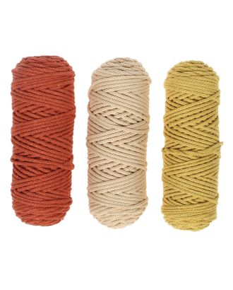 Шнур для вязания 3мм 100% хлопок, 50м/85гр, набор 3шт (Комплект 6) арт. СМЛ-40134-2-СМЛ0004335773