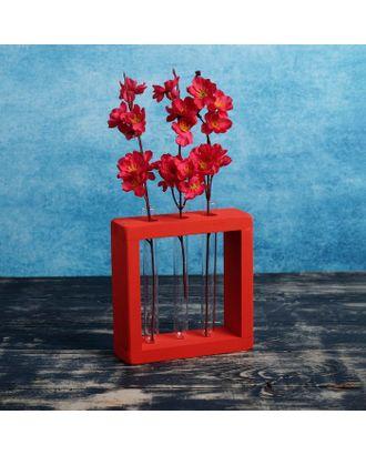 """Кашпо деревянное с 3 вазами колбами """"Рамка Мини"""", красный Дарим Красиво арт. СМЛ-109848-1-СМЛ0004427661"""
