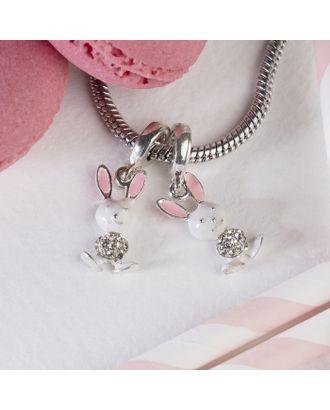 """Подвеска """"Зайка-попрыгайка"""", цвет бело-розовый в серебре арт. СМЛ-125507-1-СМЛ0004445625"""