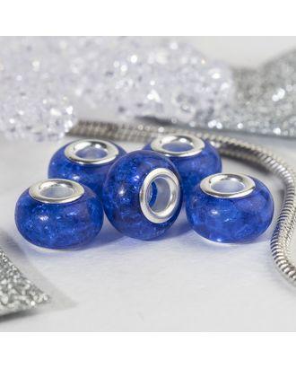 """Бусина """"Сахарный кварц"""", цв.голубой в серебре арт. СМЛ-29149-4-СМЛ0004448145"""