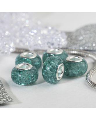 """Бусина """"Сахарный кварц"""", цв.голубой в серебре арт. СМЛ-29149-5-СМЛ0004448149"""