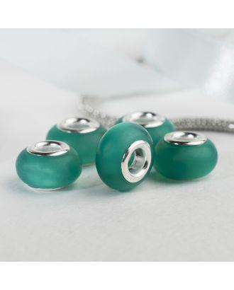 """Бусина """"Матовый стиль"""" под фосфорный агат, цвет зелёный в серебре арт. СМЛ-125753-1-СМЛ0004448160"""