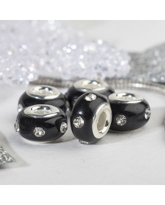 """Бусина """"Диоды"""", цвет чёрный в серебре арт. СМЛ-125754-1-СМЛ0004448180"""