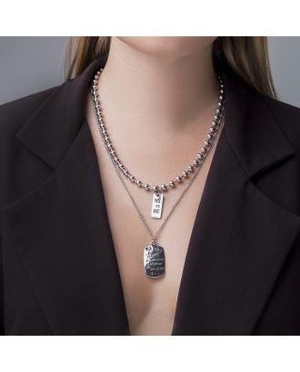 """Кулон двойной """"Цепь"""" сталь, прямоугольники, цвет серебро, 70 см арт. СМЛ-121354-1-СМЛ0004448555"""