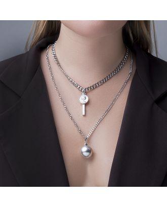 """Кулон тройной """"Цепь"""" сталь, шар, цвет серебро, 78 см арт. СМЛ-121355-1-СМЛ0004448559"""