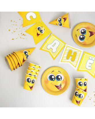 Набор бумажной посуды «Смайлы с улыбкой», 6 тарелок , 1 гирлянда , 6 стаканов, 6 колпаков арт. СМЛ-105837-1-СМЛ0004484814
