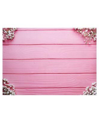 """Фотофон винил """"Белые цветы на розовых досках"""" 80х125 см арт. СМЛ-121422-1-СМЛ0004525560"""