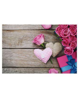 """Фотофон винил """"Розовые розы и сердечки"""" 81,5х127, см арт. СМЛ-121423-1-СМЛ0004525566"""