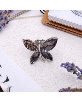 """Значок """"Бабочка"""", цвет серый в серебре арт. СМЛ-19524-1-СМЛ0456373"""