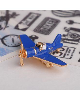 """Брошь """"Самолёт"""" с пропеллером, цвет синий в золоте арт. СМЛ-121507-1-СМЛ0004570905"""