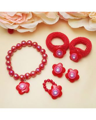 """Комплект детский """"Выбражулька"""" 5 предметов: 2 резинки, клипсы, браслет, кольцо, мишки арт. СМЛ-21904-4-СМЛ0465308"""