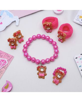 """Комплект детский """"Выбражулька"""" 5 предметов: 2 резинки, клипсы, браслет, кольцо, мишки арт. СМЛ-21904-1-СМЛ0465317"""
