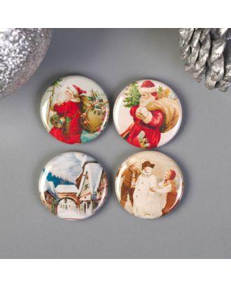"""Набор фишек """"Рождество"""" 4 элемента, диаметр 2,5см арт. СМЛ-37941-1-СМЛ0004671101"""