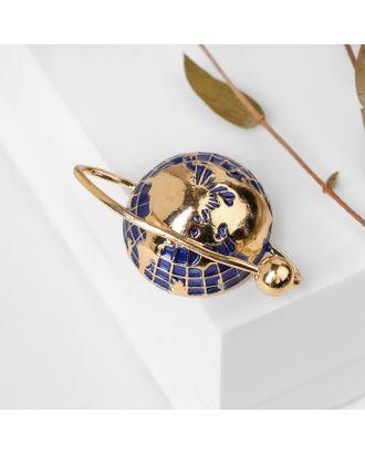 """Брошь """"Планета Земля"""", цвет синий в золоте арт. СМЛ-124913-1-СМЛ0004687433"""