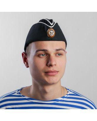 Пилотка ВМФ с белым кантом и кокардой, хлопок 100%, р. 58, цвет чёрный арт. СМЛ-100092-1-СМЛ0004716326