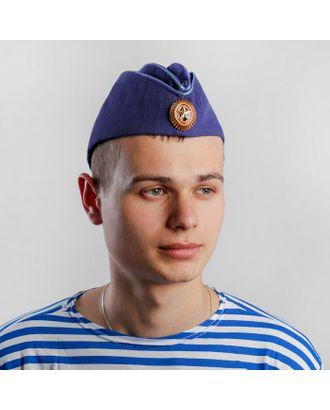 Пилотка ВВС с голубым кантом и кокардой, хлопок 100%, р. 56, цвет синий арт. СМЛ-100093-2-СМЛ0004716328