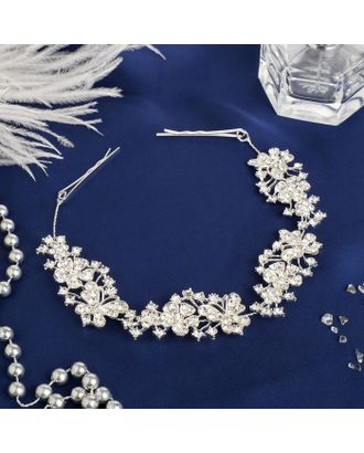 """Аксессуар для волос """"Мальви"""" 21 см бабочки на цветах, серебро арт. СМЛ-35295-1-СМЛ0004732901"""