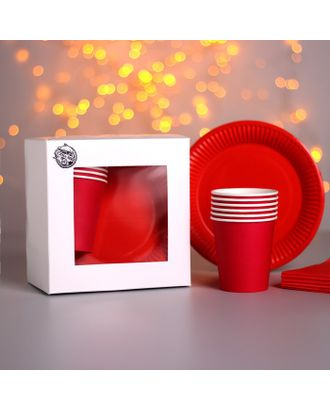 Набор бумажной посуды «Красный», 6 стаканов, 6 тарелок, 20 салфеток, скатерть арт. СМЛ-110897-1-СМЛ0004754186