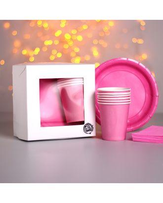 Набор бумажной посуды «Красный», 6 стаканов, 6 тарелок, 20 салфеток, скатерть арт. СМЛ-110897-3-СМЛ0004754187